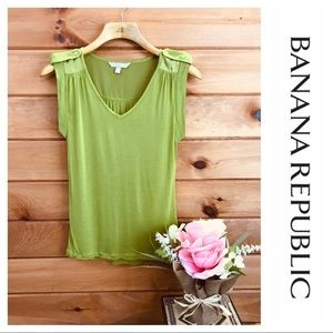 Banana Republic 💫 Green Tank ~ Cute Gold Buttons